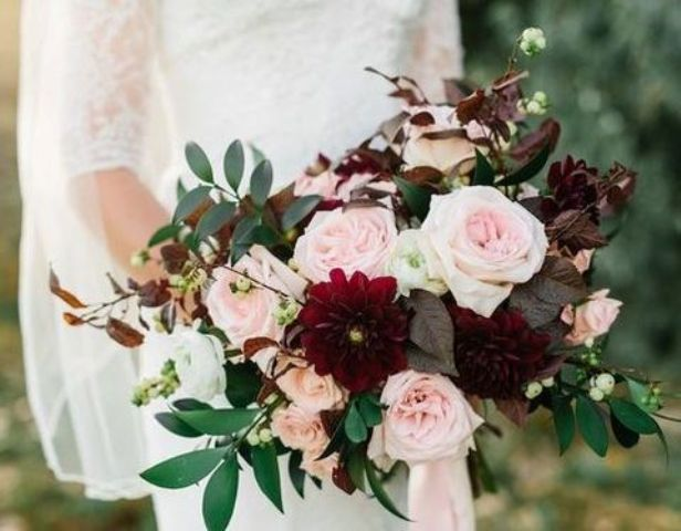 lush burgundy dahlias and blush roses for a fall bouquet