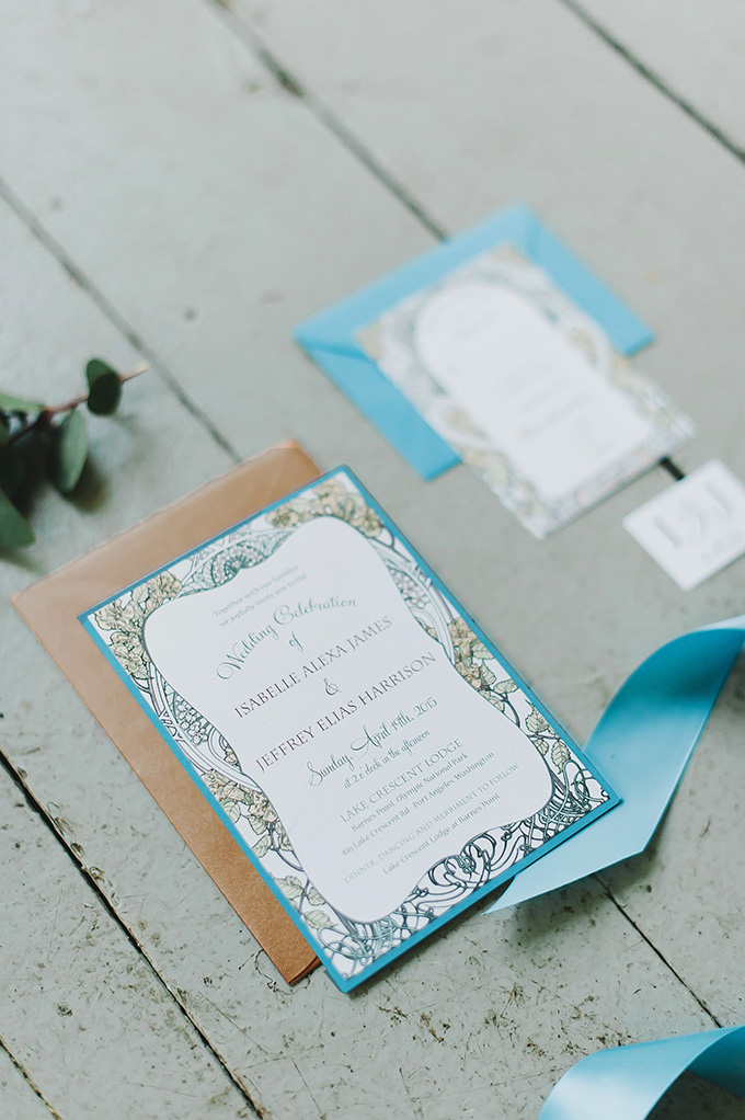 The stationery was blue with botanical prints