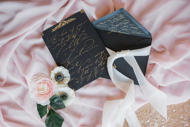 The stationery was done in black and gold