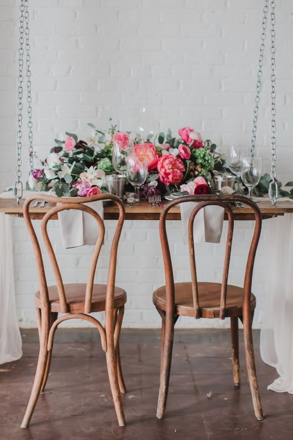 Vintage warehouse details blends well with lush florals