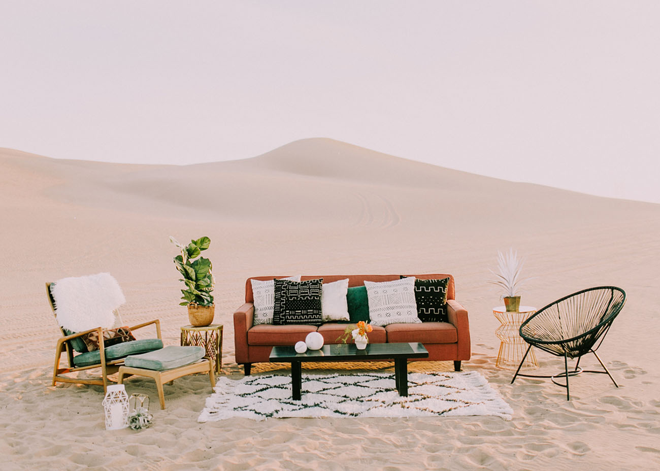 a dreamy mid century modern lounge was created in the sands