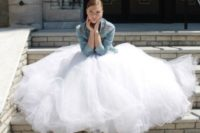 06 city hall bride in a tulle ball gown and a denim jacket