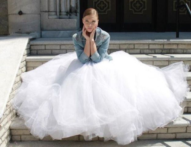 city hall bride in a tulle ball gown and a denim jacket