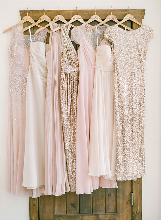 mix and match pink and giltter gold bridesmaids' dresses