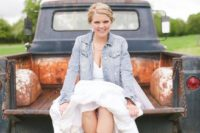 07 cowgirl boots, a sweetheart dress and a bleached denim jacket