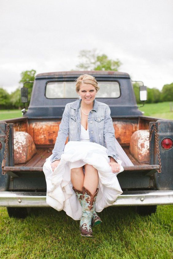 cowgirl boots, a sweetheart dress and a bleached denim jacket