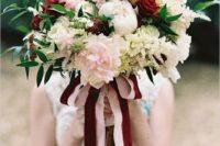 07 marsala roses and blush peonies, a matching ribbon