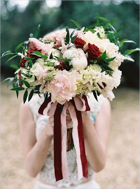 marsala roses and blush peonies, a matching ribbon