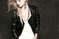 07 modern bride in a black leather jacket