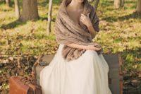 08 brown faux fur stole for a vintage bridal look