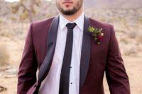 08 burgundy groom's suit with a black tie