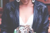 08 rock bride in a sweet white dress and a cropped leather jacket