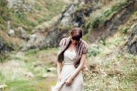 09 brown faux fur vest and a nude wedding dress