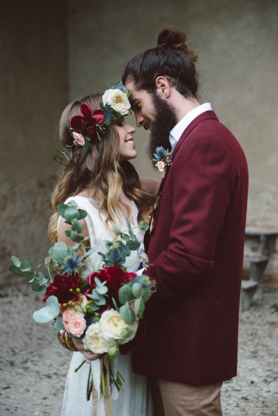 burgundy groom's jacket