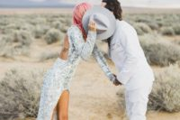 09 silver sequin wedding dress and pastel pink hair