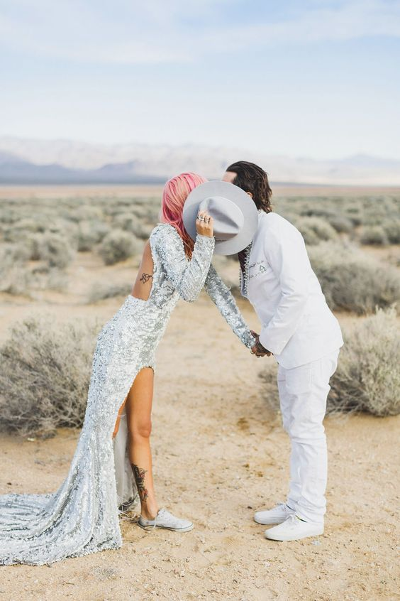 silver sequin wedding dress and pastel pink hair
