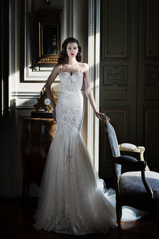 10 Spaghetti strap mermaid wedding dress with textural lace and a train