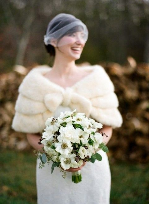 cream faux fur cape for vintage and classic brides