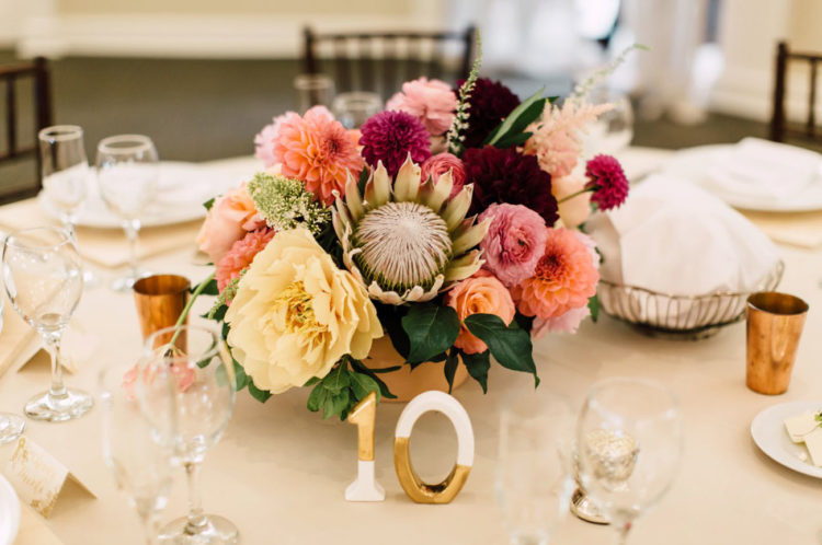 The centerpieces were bold flower ones, echoing with the bouquets