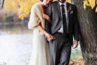 11 cream fur cover up for a cold fall wedding