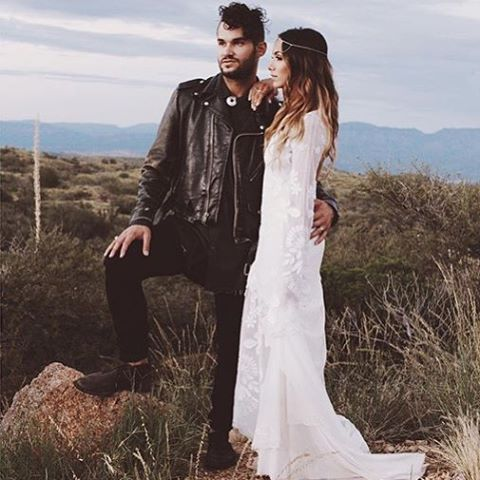 all-black rock groom's look with a leather jacket
