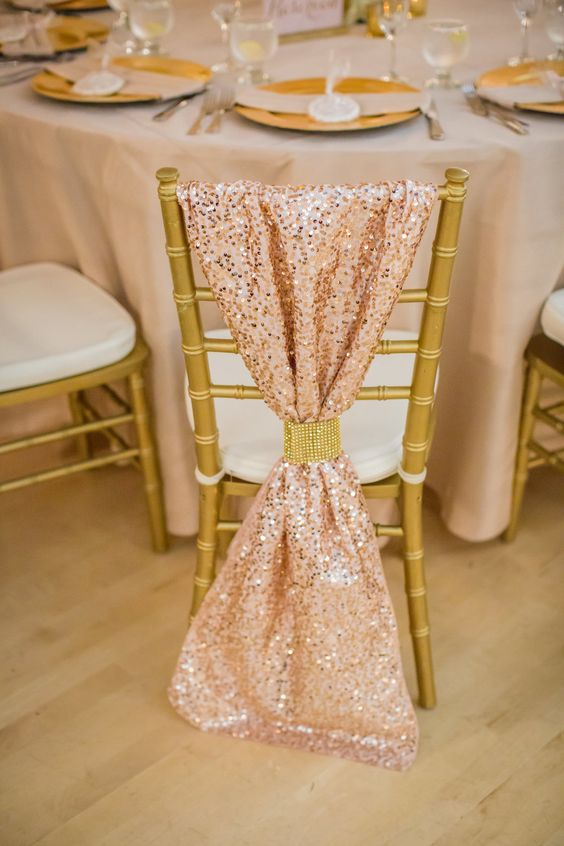 blush sequin fabric with a gold ring for chair decor