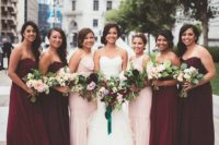 12 marsala maxi bridesmaids' gowns and blush one-shoulder ones for the bride's sisters