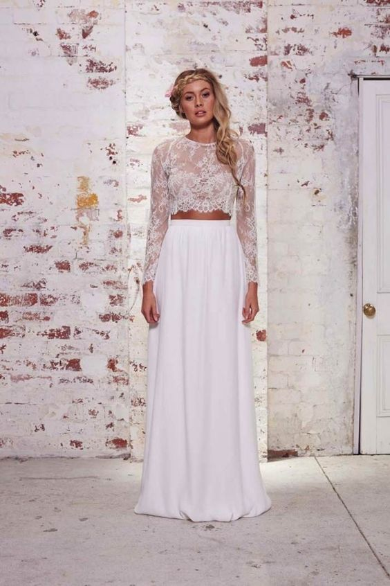 Y 2 Piece Crop Top Wedding Dress