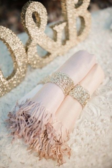 blush shawls for bridesmaids and glitter rings