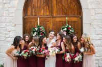 13 burgundy bridesmaids' dresses and blush gowns for the maids of honor