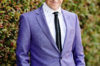 13 groom in purple with pink hair