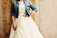13 rock-n-roll bride in a polka dot dress, a denim jacket and black Converse