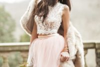 13 two piece wedding dress with pink tulle skirt and lace crop top