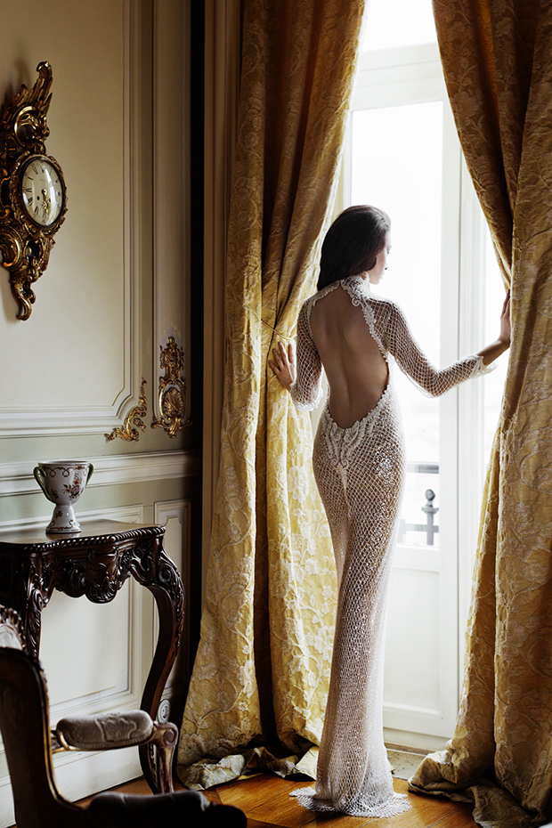 Sheath sheer-inspired wedding dress with an open back