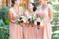 14 blush bridesmaids' dresses, white, blush and burgundy bouquets