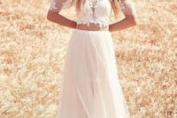 14 crop-top, off-the-shoulder wedding dress