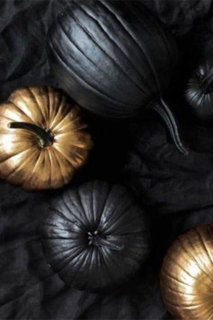 black matte and gold pumpkins
