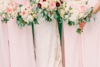 15 blush bridesmaids' gowns and bouquets, touches of burgundy for the bridal bouquet