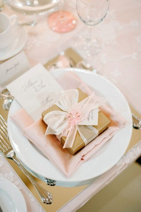 blush tablescape and gold boxes for favors