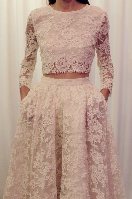 midriff wedding dress of lace