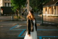 15 tulle dress and a moto jacket for a rock bride