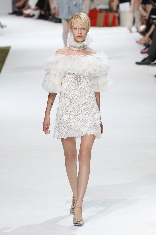 Giambattista Valli's short lace off the shoulder dress