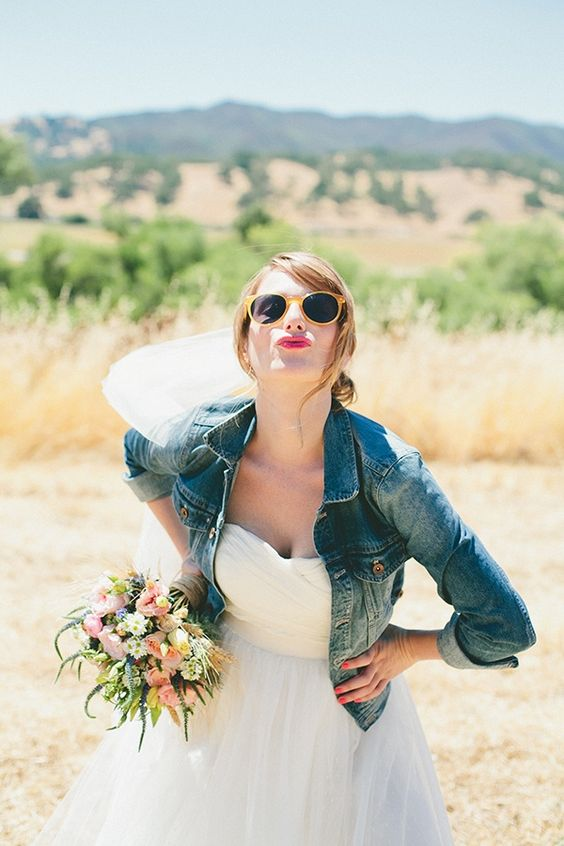 cropped denim jacket as a coverup for a modern bride
