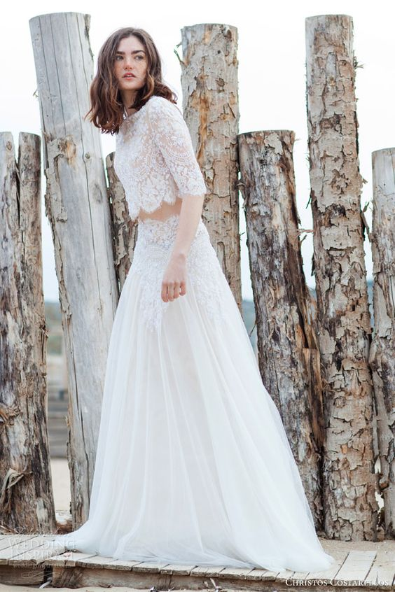 Midriff Wedding Dress Of Lace Bridal Separate