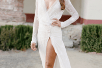 17 sheer wedding gown with a leg exposed