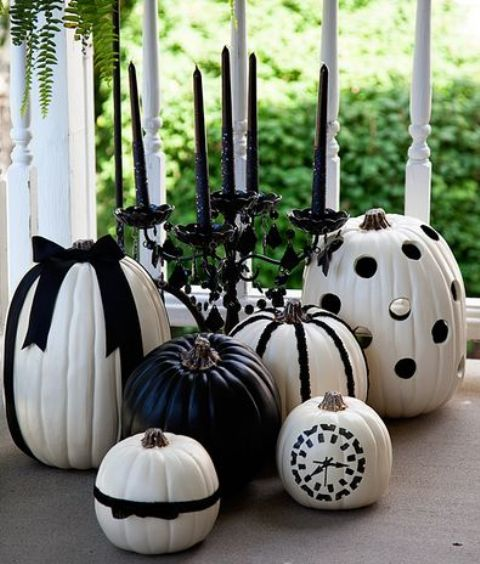 black and white pumpkins with ribbon