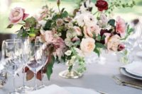 18 blush and white centerpiece with burgundy additions