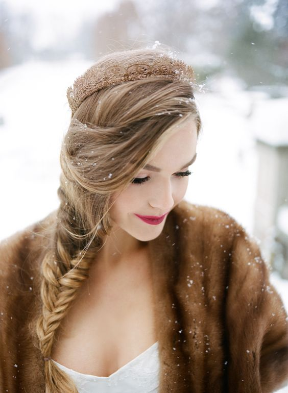 bold lips always look perfect in snowy settings