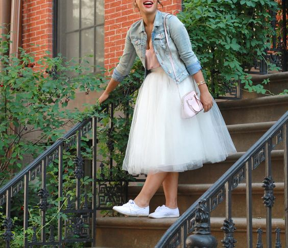tulle dress, white sneakers and a bleached denim jacket for a relaxed city hall bride