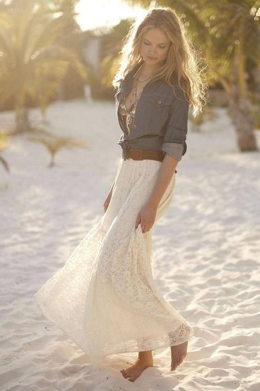 beach bride in a boho lace dress and a chambray shirt with a belt